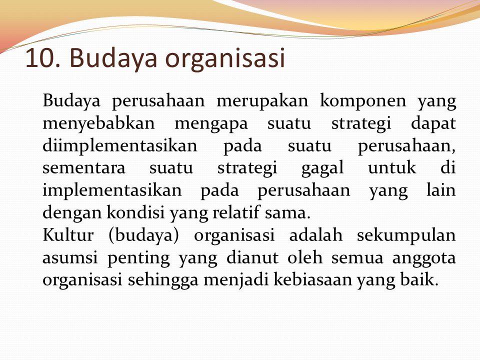 10. Budaya organisasi
