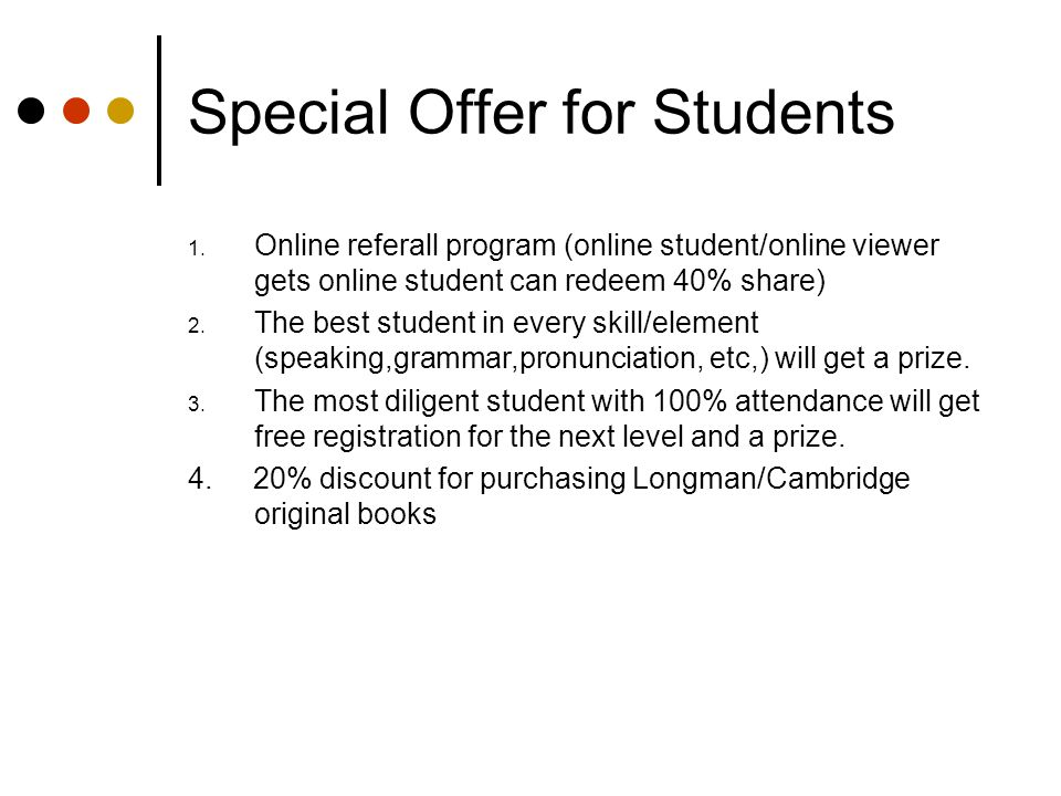 Special Offer for Students