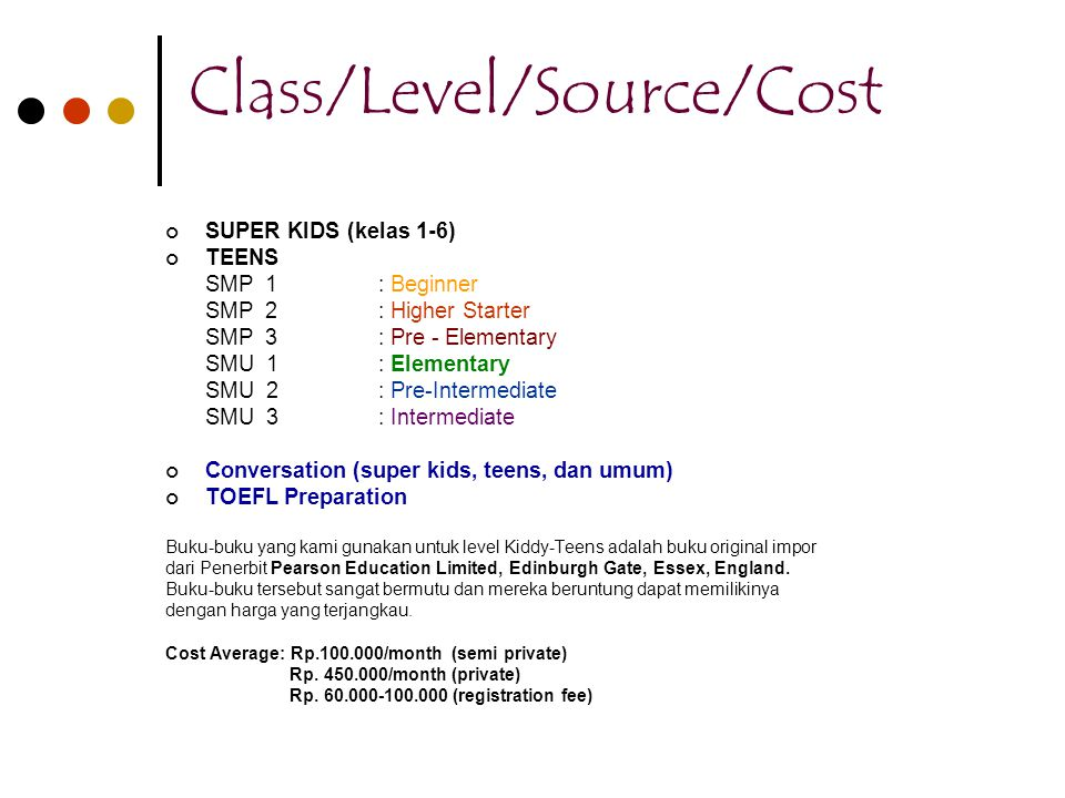 Class/Level/Source/Cost