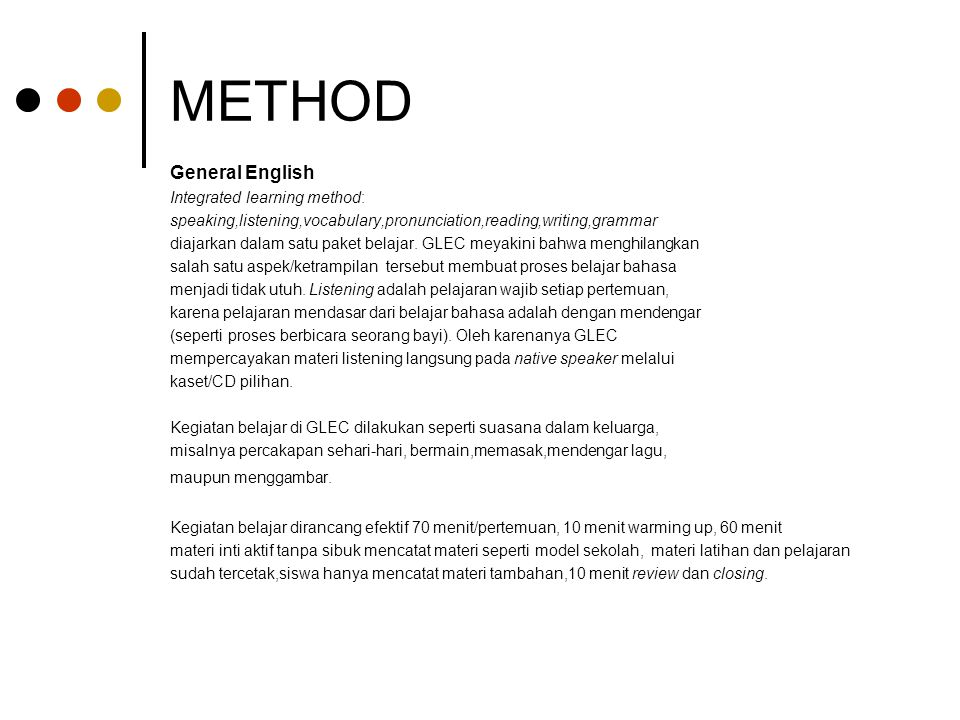METHOD General English Integrated learning method: