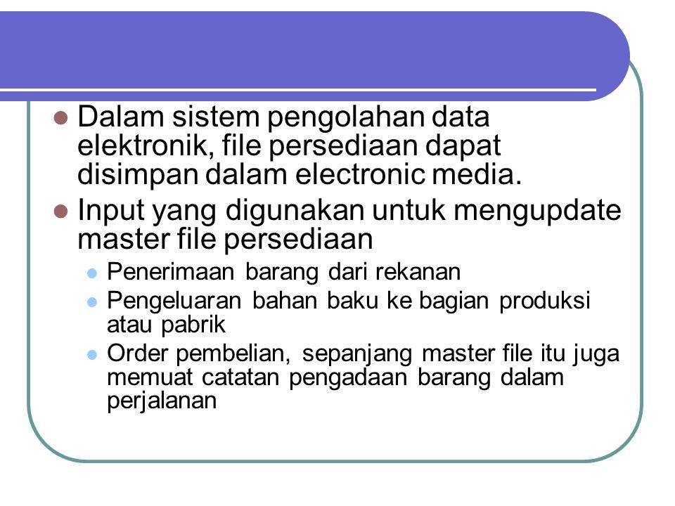 Input yang digunakan untuk mengupdate master file persediaan