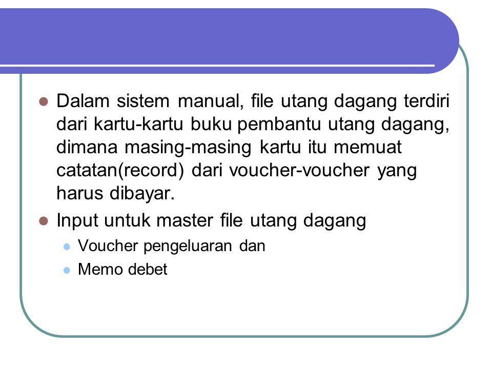 Input untuk master file utang dagang