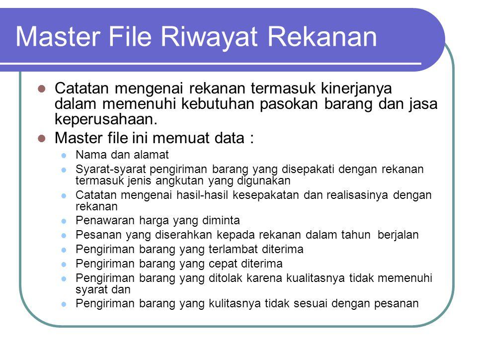 Master File Riwayat Rekanan