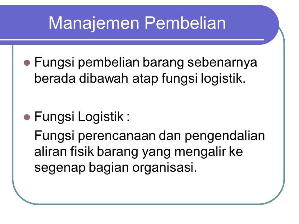 Manajemen Pembelian Fungsi pembelian barang sebenarnya berada dibawah atap fungsi logistik. Fungsi Logistik :