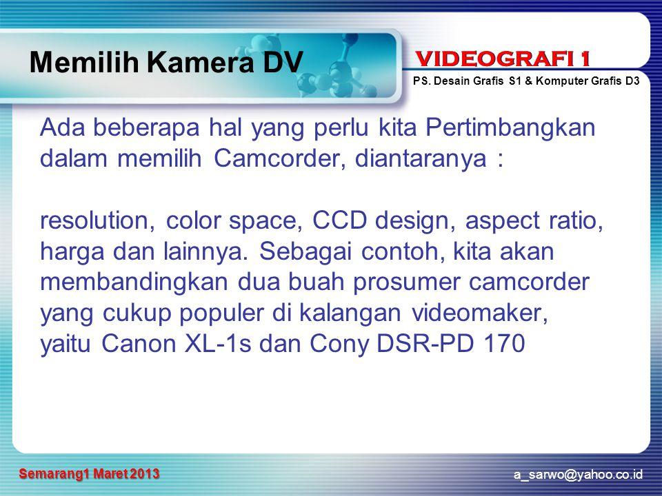 Memilih Kamera DV Ada beberapa hal yang perlu kita Pertimbangkan