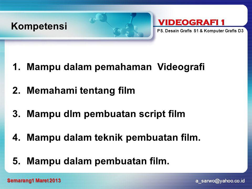 Kompetensi Mampu dalam pemahaman Videografi. Memahami tentang film. Mampu dlm pembuatan script film.