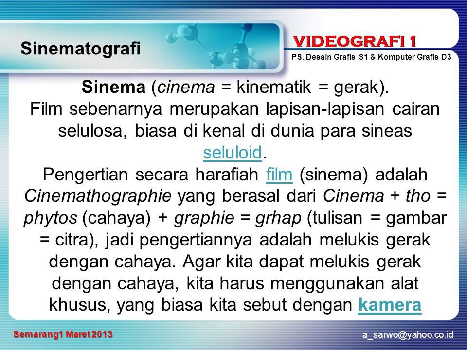 Sinema (cinema = kinematik = gerak).