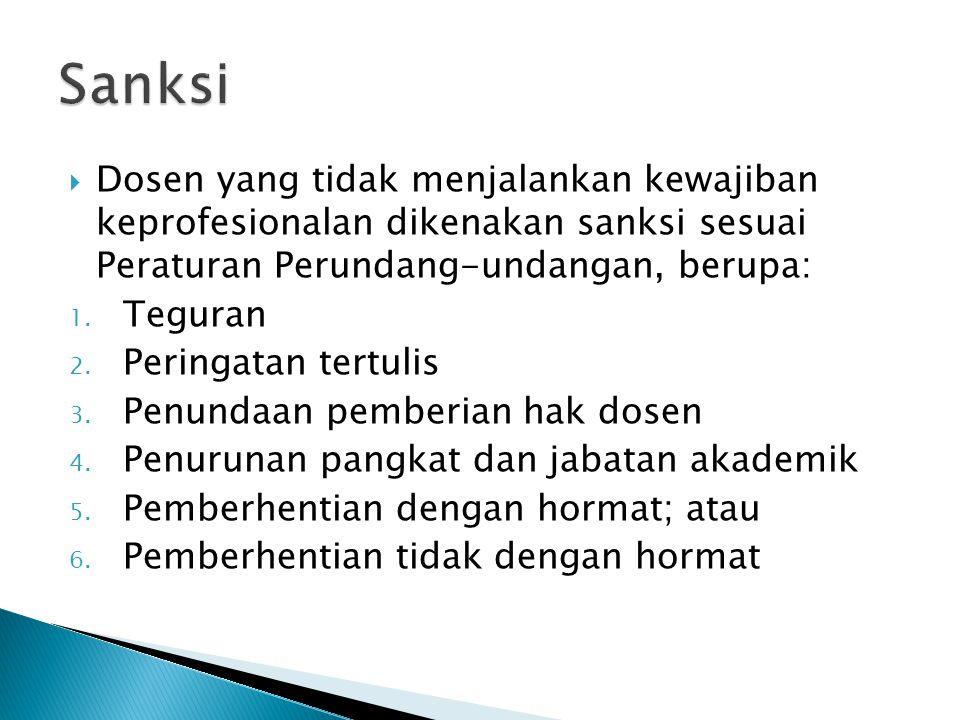 Sanksi Dosen yang tidak menjalankan kewajiban keprofesionalan dikenakan sanksi sesuai Peraturan Perundang-undangan, berupa: