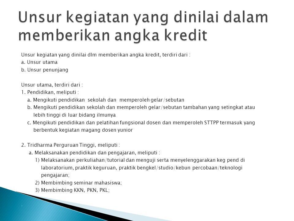 Unsur kegiatan yang dinilai dalam memberikan angka kredit