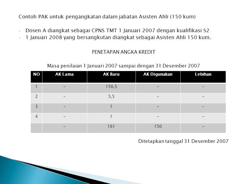 Contoh PAK untuk pengangkatan dalam jabatan Asisten Ahli (150 kum)