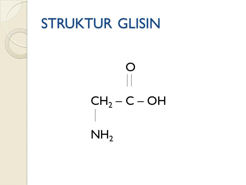 STRUKTUR GLISIN O CH2 – C – OH NH2
