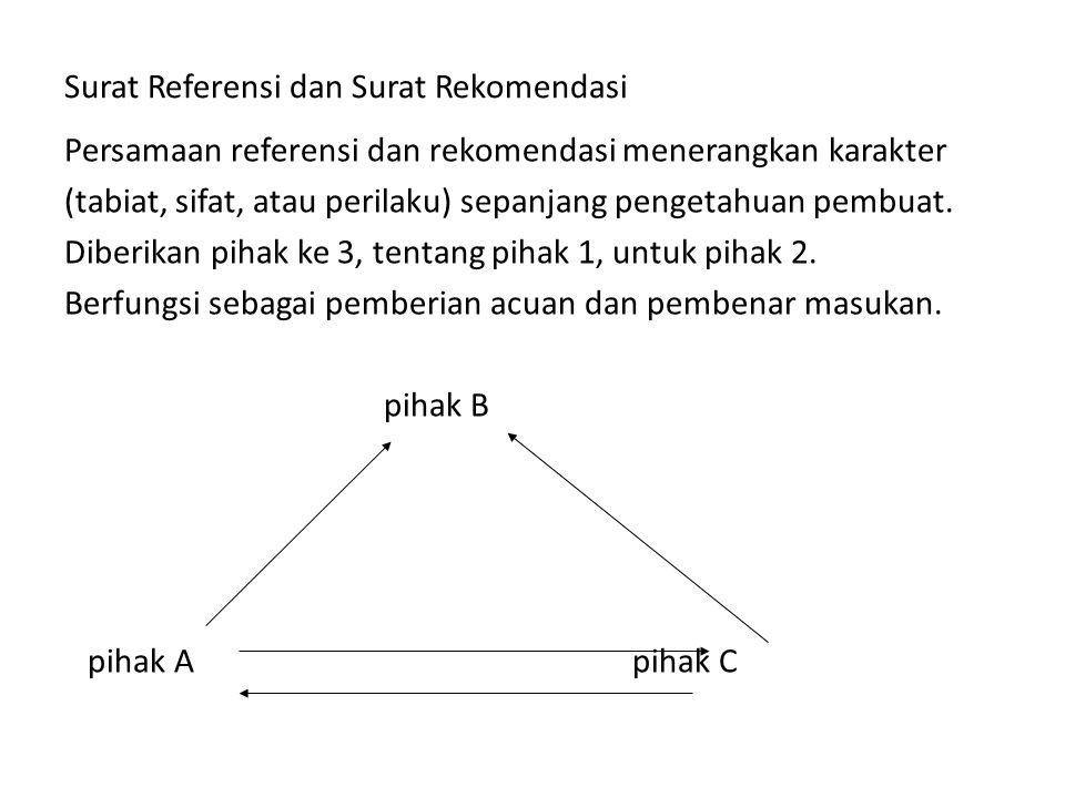 Surat Referensi dan Surat Rekomendasi