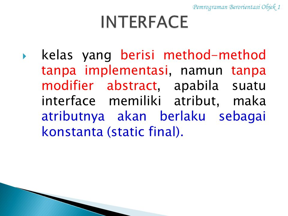Pemrograman Berorientasi Objek 1