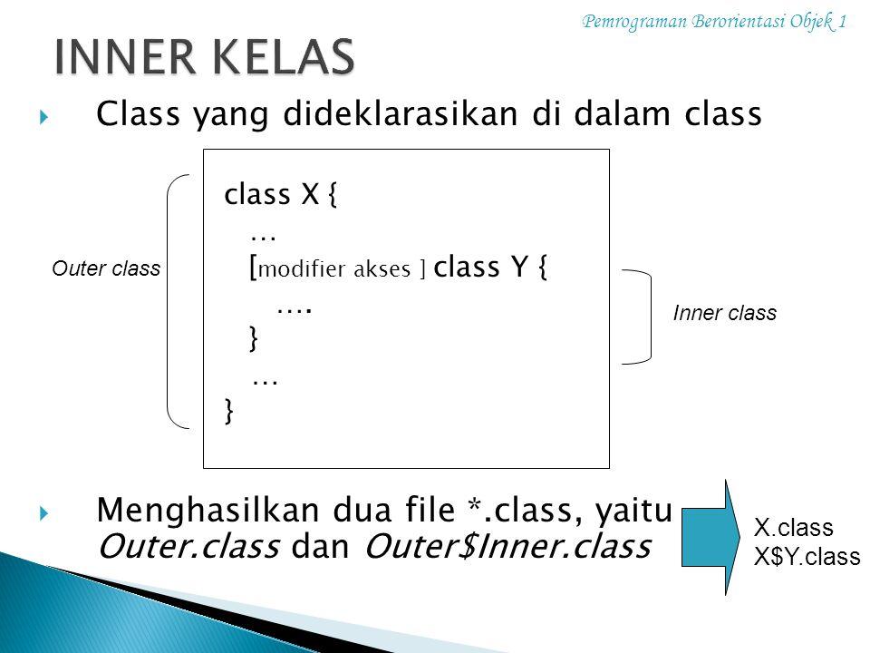 INNER KELAS Class yang dideklarasikan di dalam class