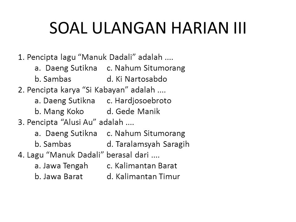 SOAL ULANGAN HARIAN III
