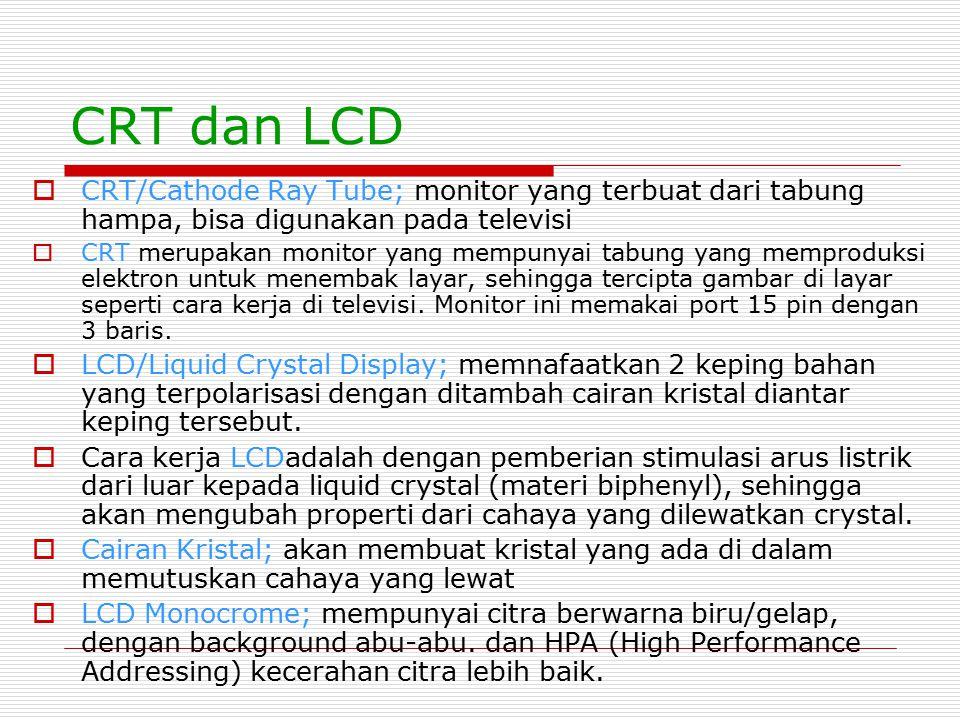 CRT dan LCD CRT/Cathode Ray Tube; monitor yang terbuat dari tabung hampa, bisa digunakan pada televisi.