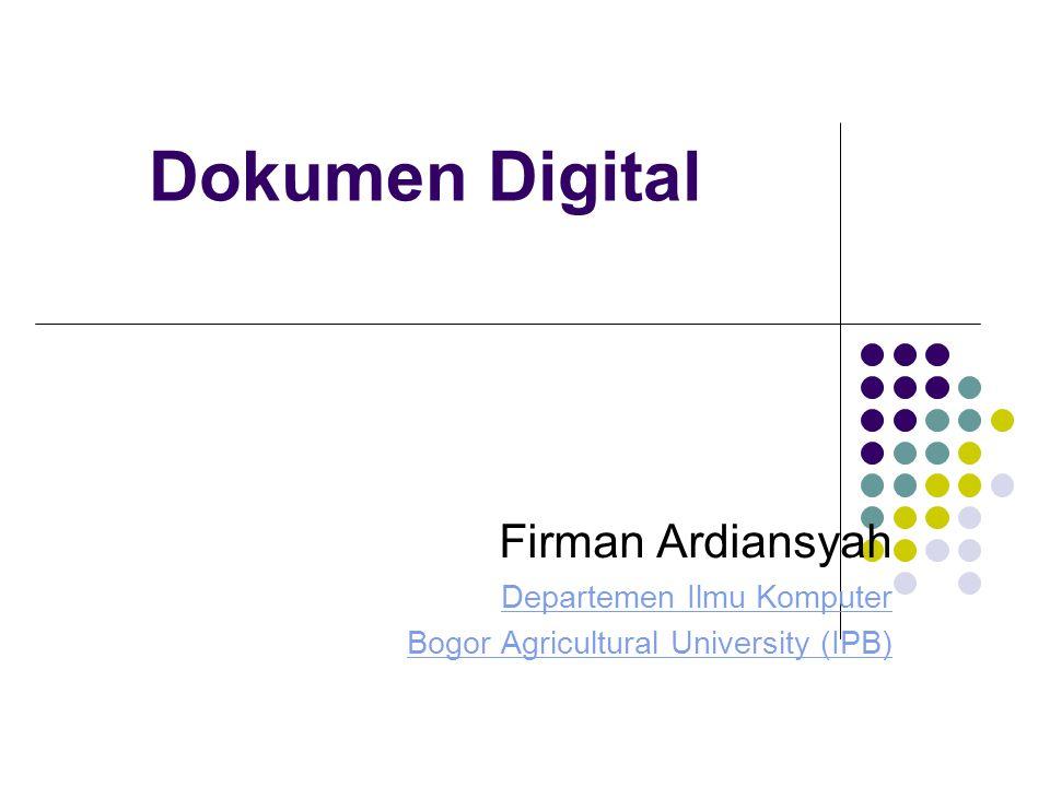 Dokumen Digital Firman Ardiansyah Departemen Ilmu Komputer