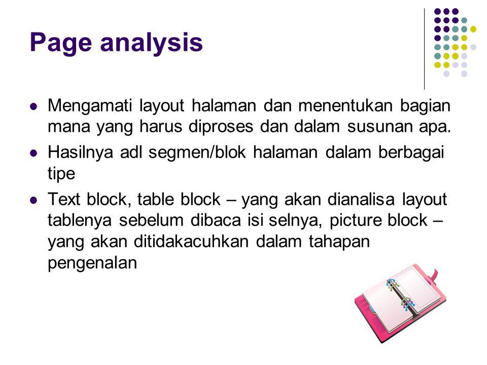 Page analysis Mengamati layout halaman dan menentukan bagian mana yang harus diproses dan dalam susunan apa.