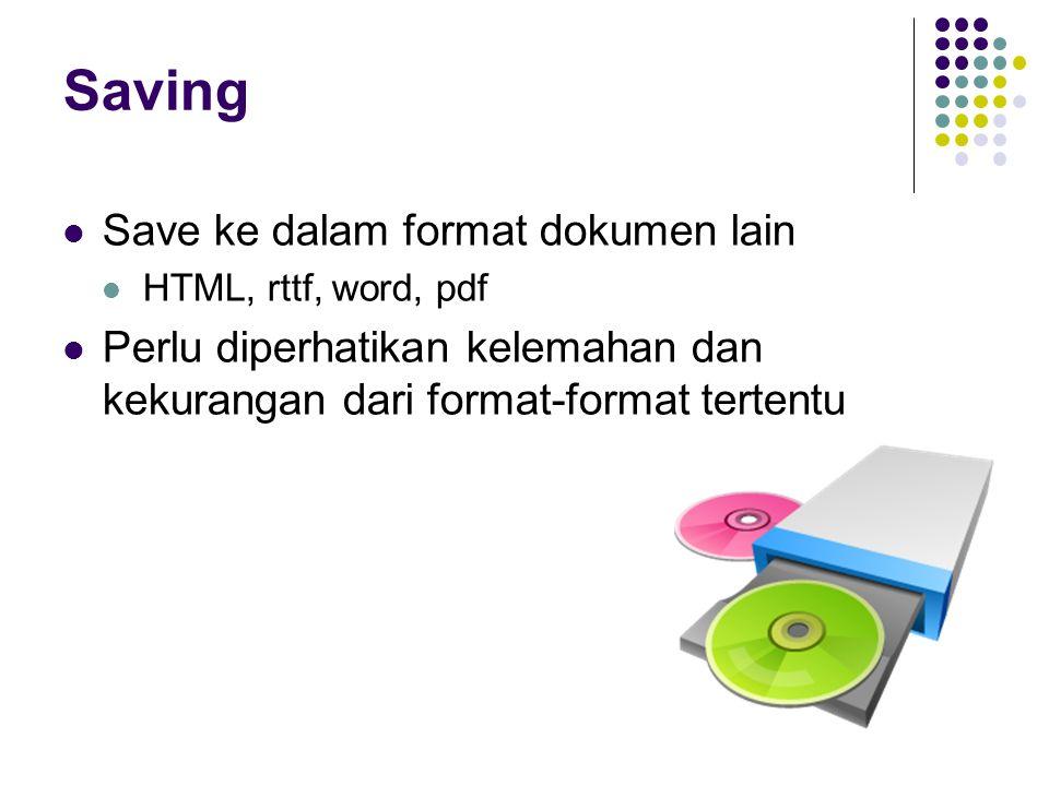 Saving Save ke dalam format dokumen lain