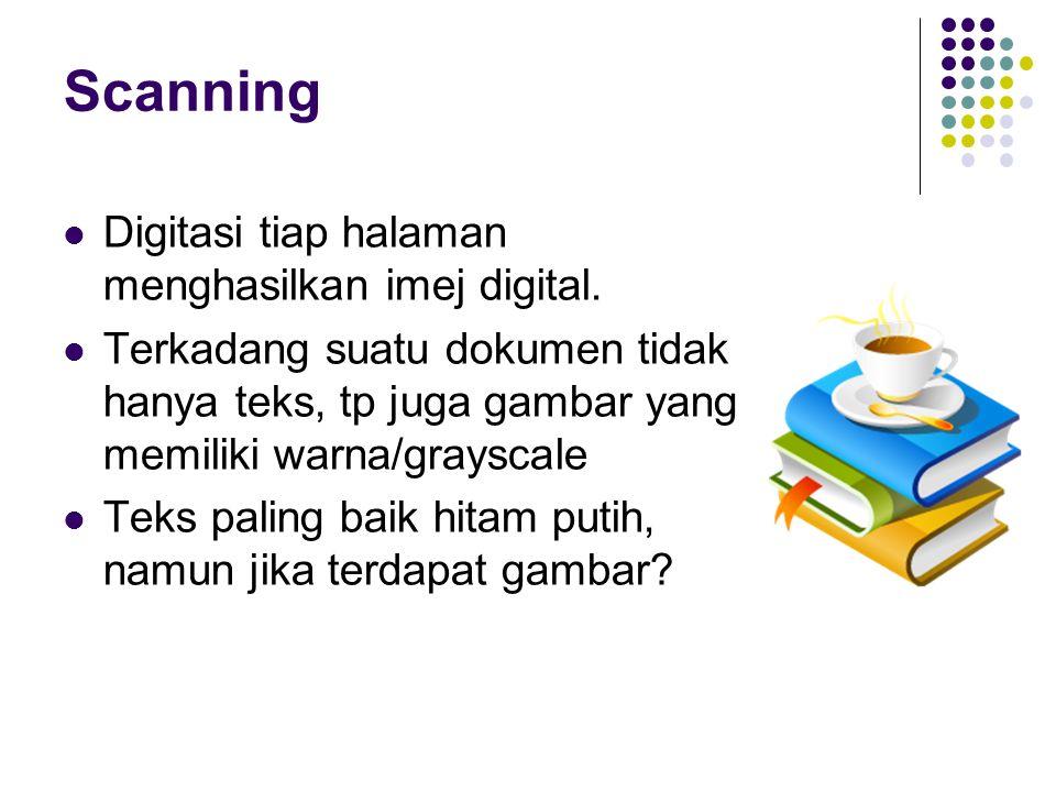 Scanning Digitasi tiap halaman menghasilkan imej digital.