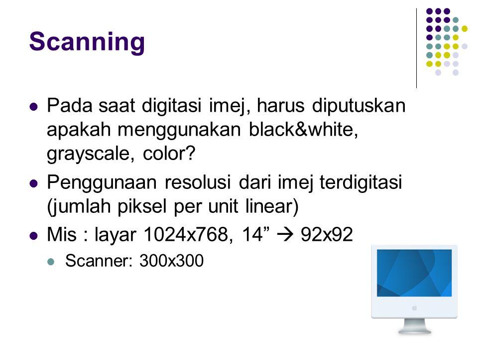 Scanning Pada saat digitasi imej, harus diputuskan apakah menggunakan black&white, grayscale, color