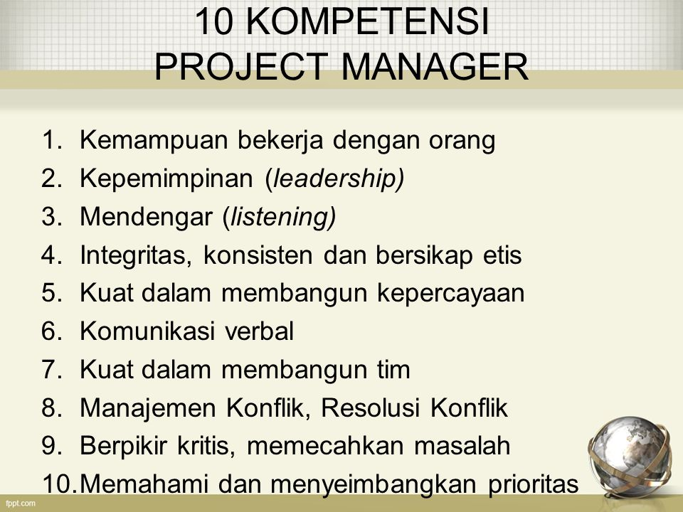10 KOMPETENSI PROJECT MANAGER