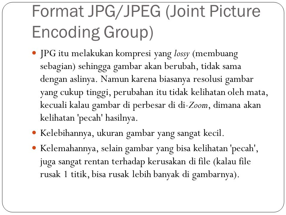 Format JPG/JPEG (Joint Picture Encoding Group)