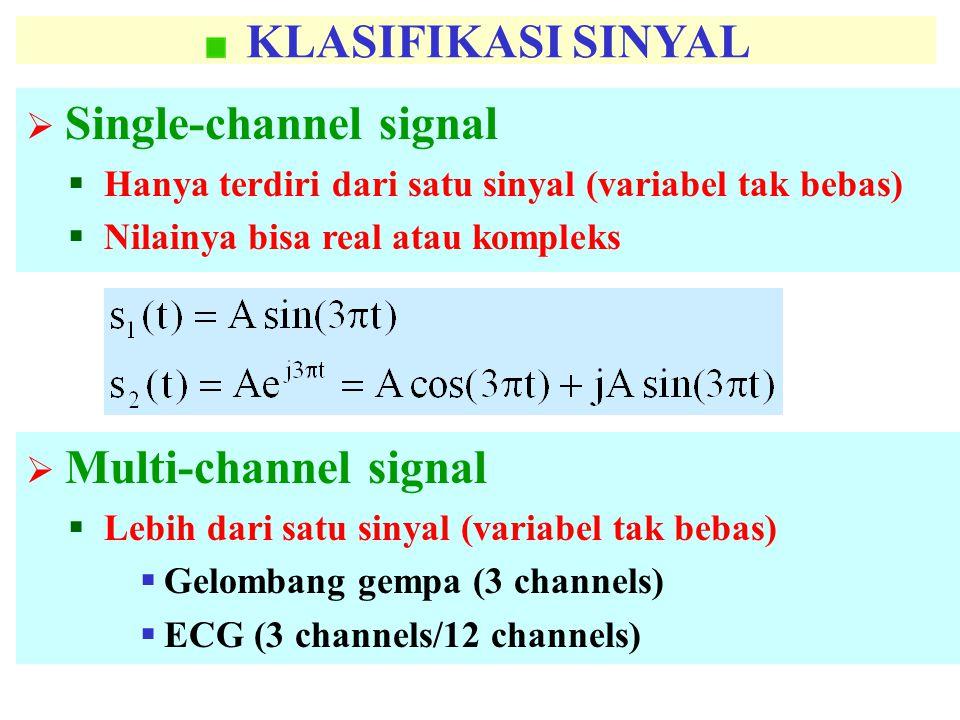 KLASIFIKASI SINYAL Single-channel signal. Hanya terdiri dari satu sinyal (variabel tak bebas) Nilainya bisa real atau kompleks.