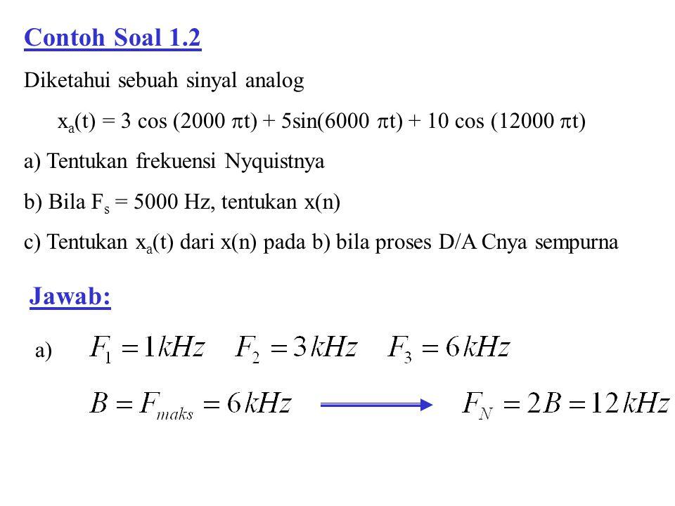 Contoh Soal 1.2 Jawab: Diketahui sebuah sinyal analog