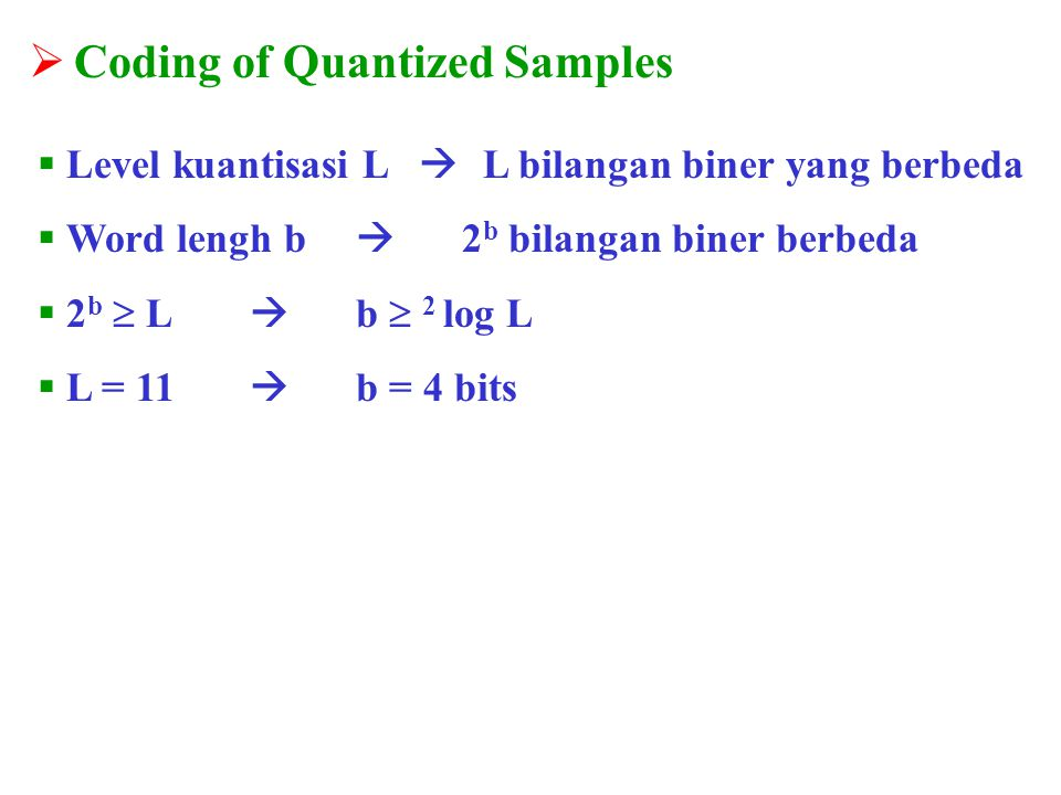 Coding of Quantized Samples
