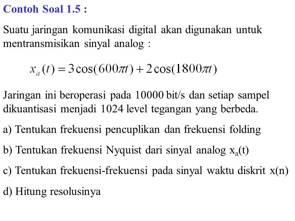 Contoh Soal 1.5 : Suatu jaringan komunikasi digital akan digunakan untuk mentransmisikan sinyal analog :