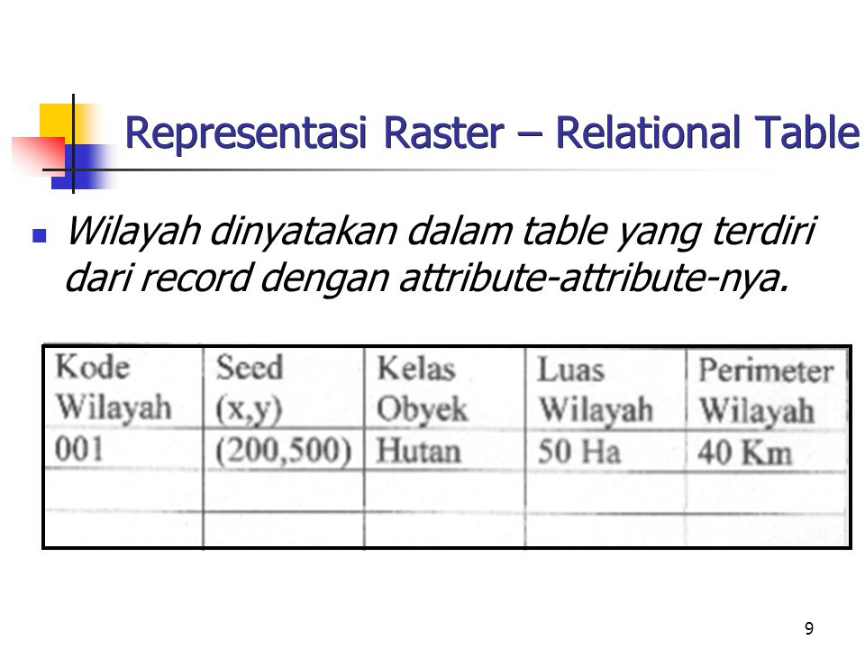 Representasi Raster – Relational Table