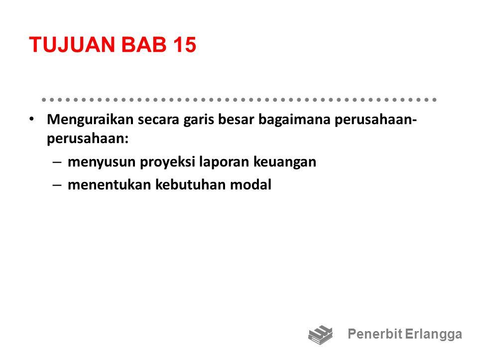 TUJUAN BAB 15 Menguraikan secara garis besar bagaimana perusahaan-perusahaan: menyusun proyeksi laporan keuangan.