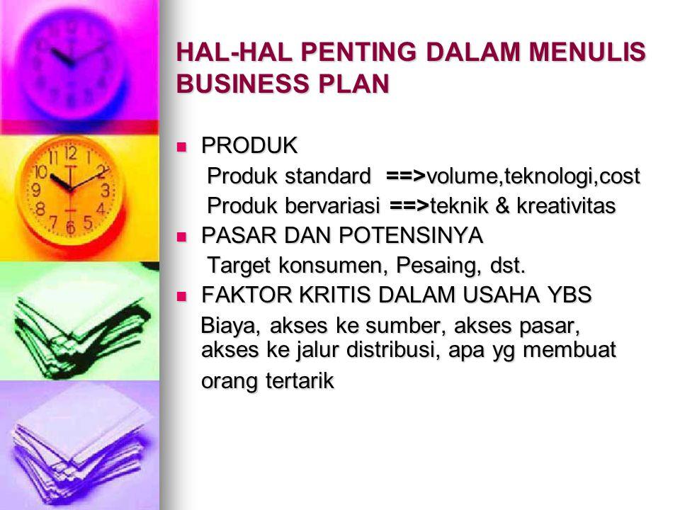 HAL-HAL PENTING DALAM MENULIS BUSINESS PLAN