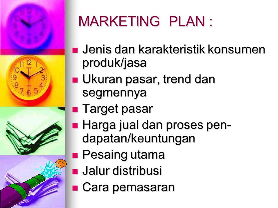 MARKETING PLAN : Jenis dan karakteristik konsumen produk/jasa
