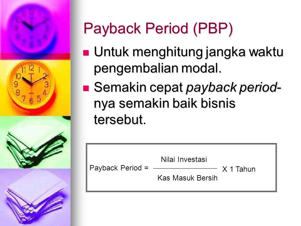 Payback Period (PBP) Untuk menghitung jangka waktu pengembalian modal.