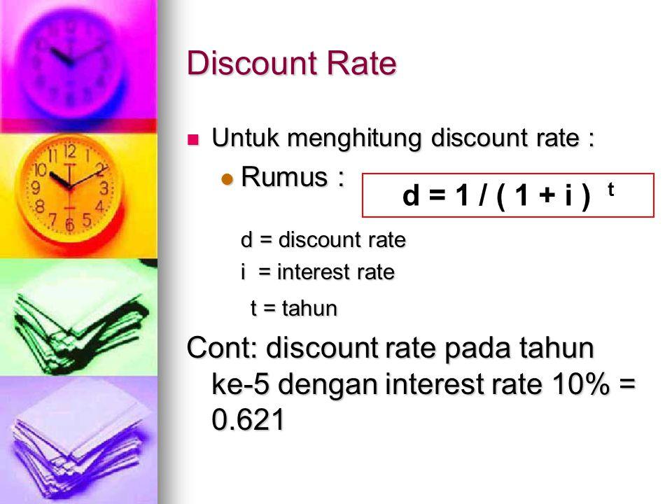 Discount Rate d = 1 / ( 1 + i ) t