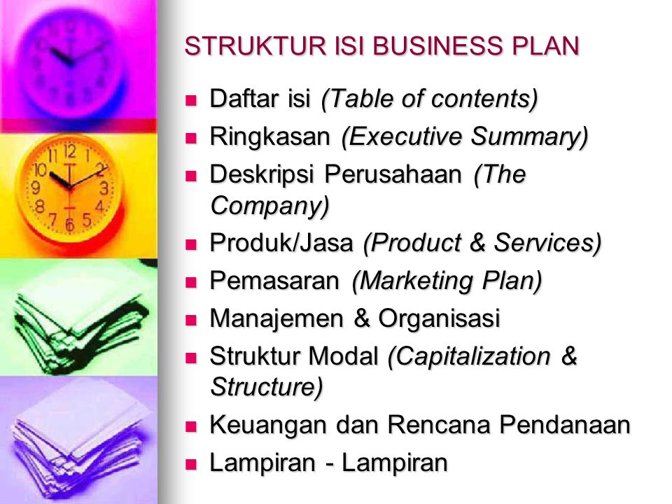 STRUKTUR ISI BUSINESS PLAN