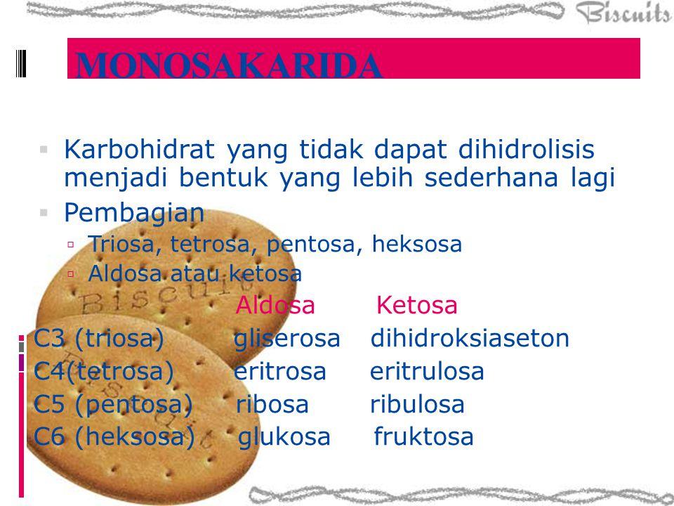 MONOSAKARIDA Karbohidrat yang tidak dapat dihidrolisis menjadi bentuk yang lebih sederhana lagi. Pembagian.