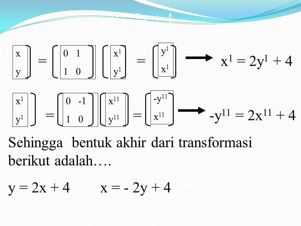 Sehingga bentuk akhir dari transformasi berikut adalah….