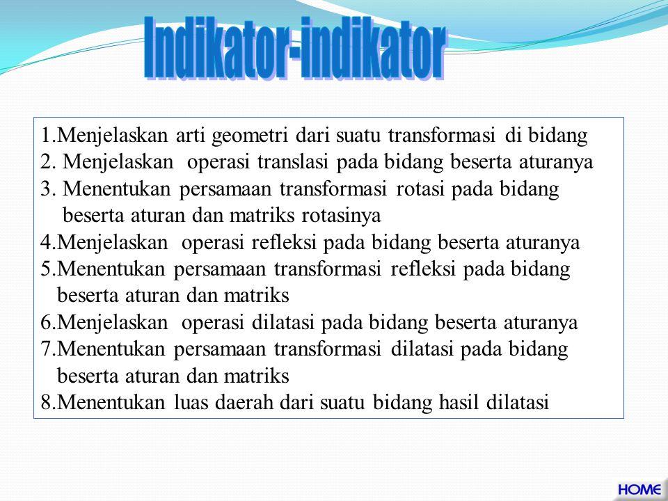 Indikator-indikator 1.Menjelaskan arti geometri dari suatu transformasi di bidang. 2. Menjelaskan operasi translasi pada bidang beserta aturanya.