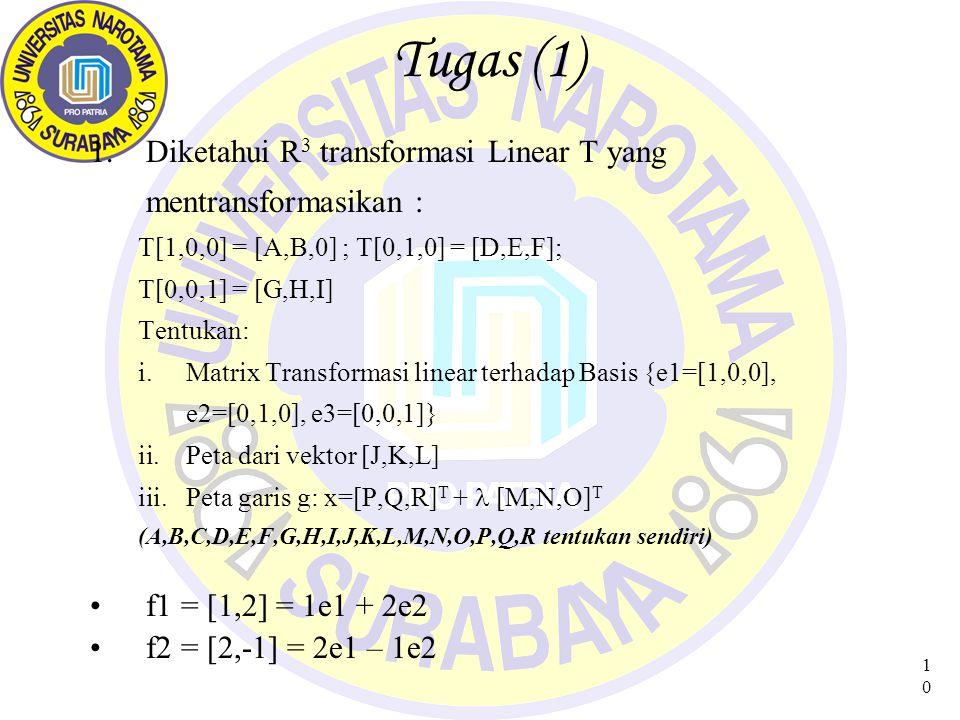 Tugas (1) Diketahui R3 transformasi Linear T yang mentransformasikan :