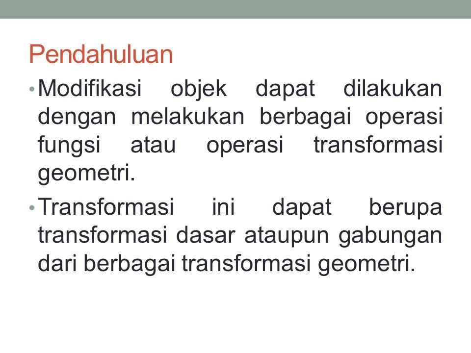 Pendahuluan Modifikasi objek dapat dilakukan dengan melakukan berbagai operasi fungsi atau operasi transformasi geometri.