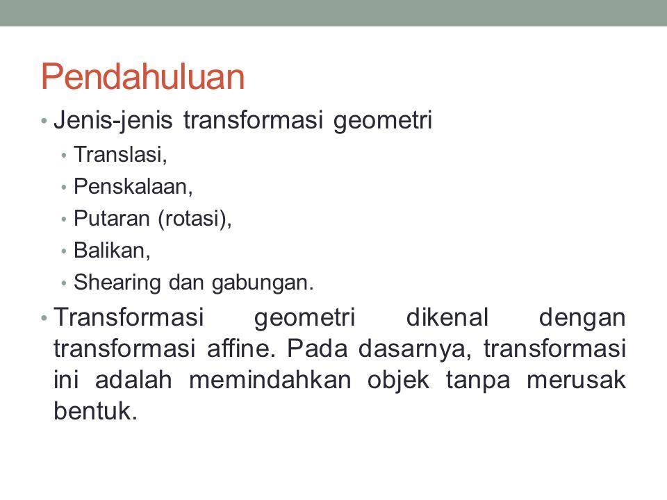 Pendahuluan Jenis-jenis transformasi geometri