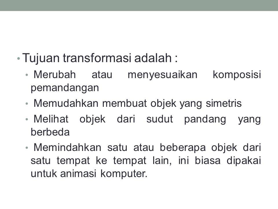 Tujuan transformasi adalah :