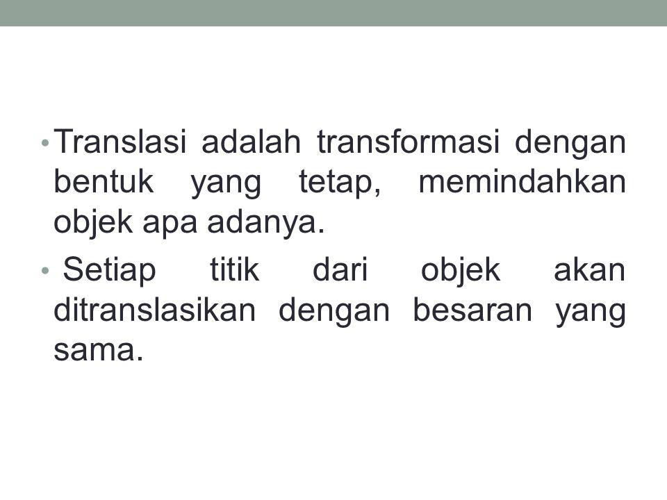 Translasi adalah transformasi dengan bentuk yang tetap, memindahkan objek apa adanya.