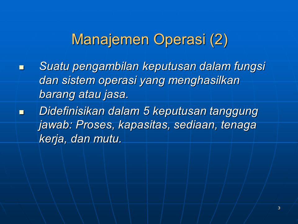 Manajemen Operasi (2) Suatu pengambilan keputusan dalam fungsi dan sistem operasi yang menghasilkan barang atau jasa.