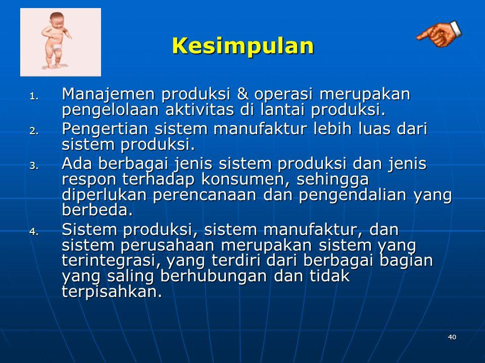 Kesimpulan Manajemen produksi & operasi merupakan pengelolaan aktivitas di lantai produksi.