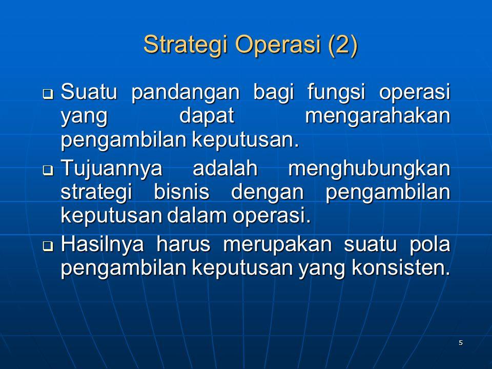 Strategi Operasi (2) Suatu pandangan bagi fungsi operasi yang dapat mengarahakan pengambilan keputusan.