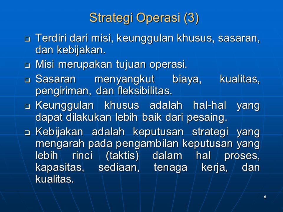 Strategi Operasi (3) Terdiri dari misi, keunggulan khusus, sasaran, dan kebijakan. Misi merupakan tujuan operasi.